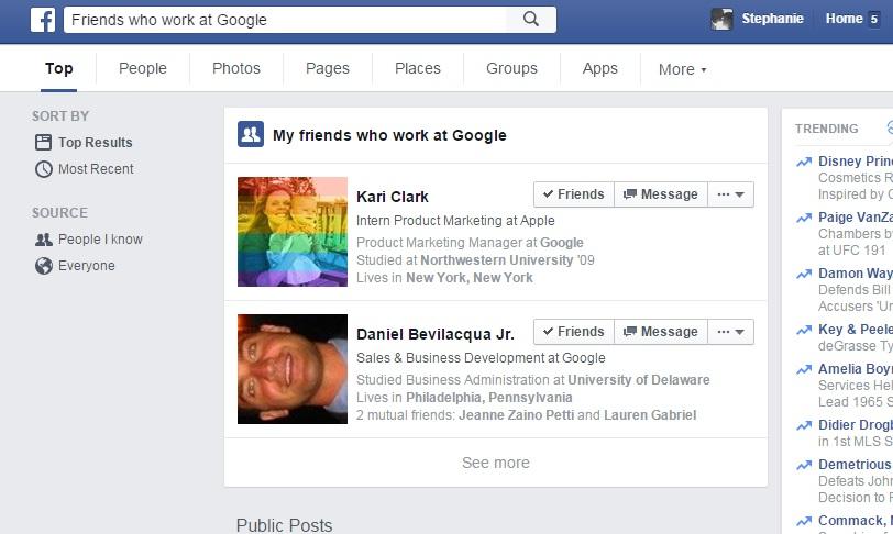 Facebook example